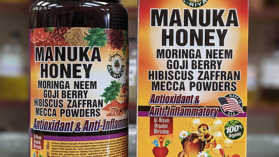 Manuka Honey with Moringa, Neem, Goji Berry, Hibiscus Zaffran, Mecca Powders