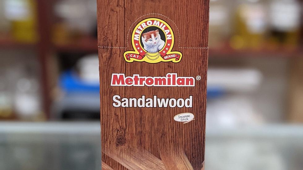 Metromilan Sandalwood Incense Sticks 6 Boxes (20 Sticks each)