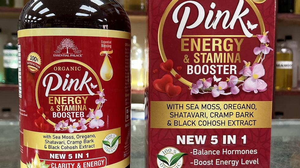 Organic Pink Energy & Stamina Booster With Sea Moss, Oregano, Shatavari,