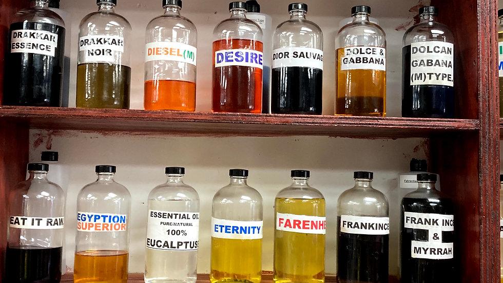 Body Perfumes & Burning Oils (Drakkar Essence to Frankincense & Myrrh)