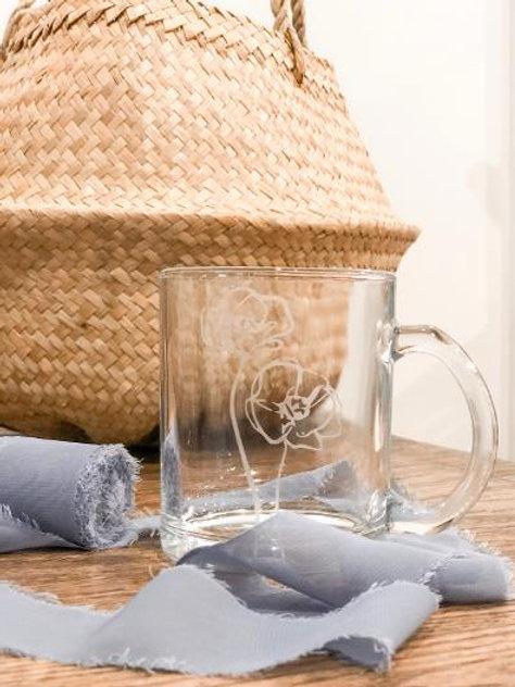 Etched glass floral mug