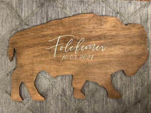 "Signature Wooden Buffalo 37.5"" x 23"""