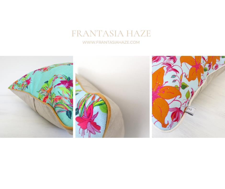 Frantasia Haze Bespoke Cushions. Harrogate. Floral, Bright, Cushions