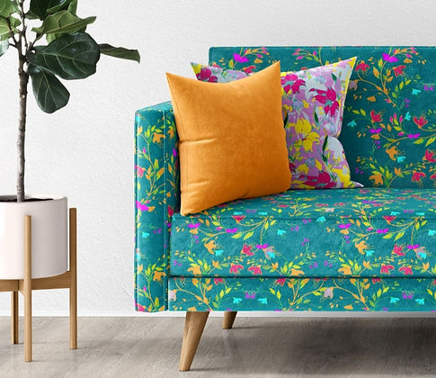 Frantasia Haze Interior Inspiration. Interior Design and Styling. Luxury Interior Fabric for Interiors and Upholstery. Bold, Floral Fabric Design. Harrogate Fabric, Interior and Styling Design Studio. Freelance Surface Pattern Designer, Harrogate. Harrogate Interior Design.