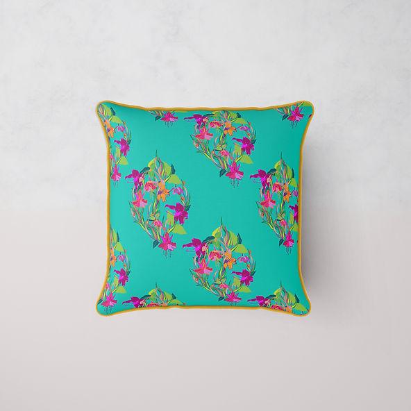 Frantasia Haze Luxury Bespoke Cushions. Floral Cushion Designs, Handmade in Harrogate. Bold and Bright Cushions for Contemporary Homeware.