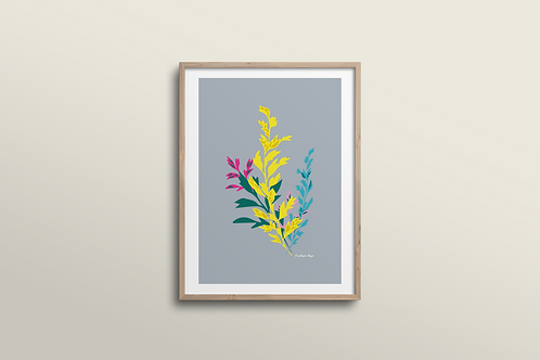 Jungle Flower - Art Print Silver Grey