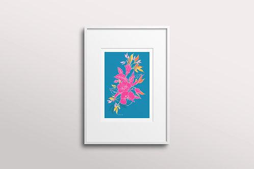 Hibiscus Flower Giclee Art Print, Sunny Blue