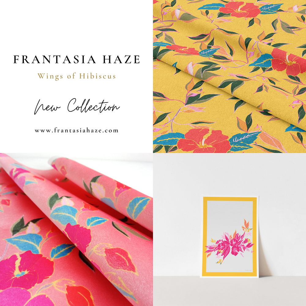 Frantasia Haze Wings of Hibiscus Collection. Fabrics and Giclee Art Prints. Bold, Floral Designs. Harrogate Interior Design.