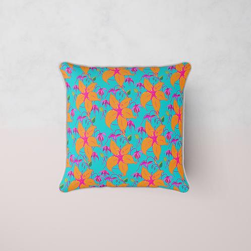 Lilia Bloom Cushion - Turquoise Maya