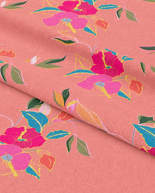 Frantasia Haze Fabric Design, Bold Floral Fabric, Bold Curtain Fabric, Hibiscus in Bloom, Coral Rose