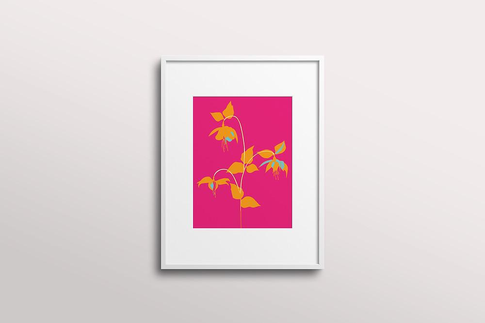Frantasia Haz\e Interiors. Art Prints. Floral Art. Bold Art Prints. Pink Art Prints. Interior Art Prints. Wall Prints.