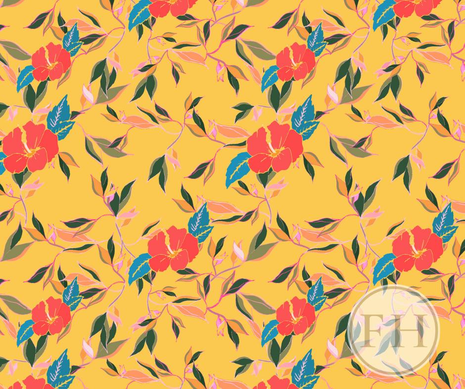 Hibiscus Trail, Summer Glow Interior Fabric. Luxury Frantasia Haze Interior Fabric Design. Fabrics and Interiors. Bright and Bold Curtain Fabric. Harrogate Interior Studio.