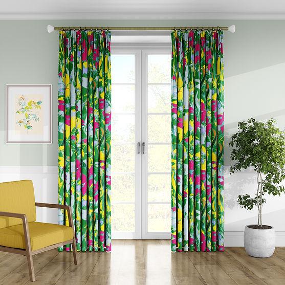 Frantasia Haze Interior Design Inspiration. Modern, Bold, Interior Design Ideas. Bold Patterned Curtain Fabric. Harrogate Interiors. Bold Pattern Fabric. Luxury Interior Curtain Fabric.
