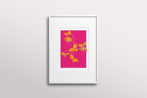 Fuchsia La Vine Bold Giclee Art Print, Fuchsia Sunkiss