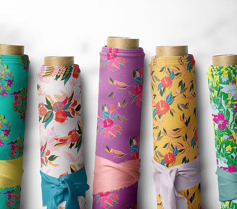 Luxury Interior Fabric Collection. Floral, Bold Fabric Design. Frantasia Haze Interior Fabric Design Studio. Harrogate Surface Pattern Designer. Shop Collections, Fuchsia Lilly and Wings of Hibiscus.