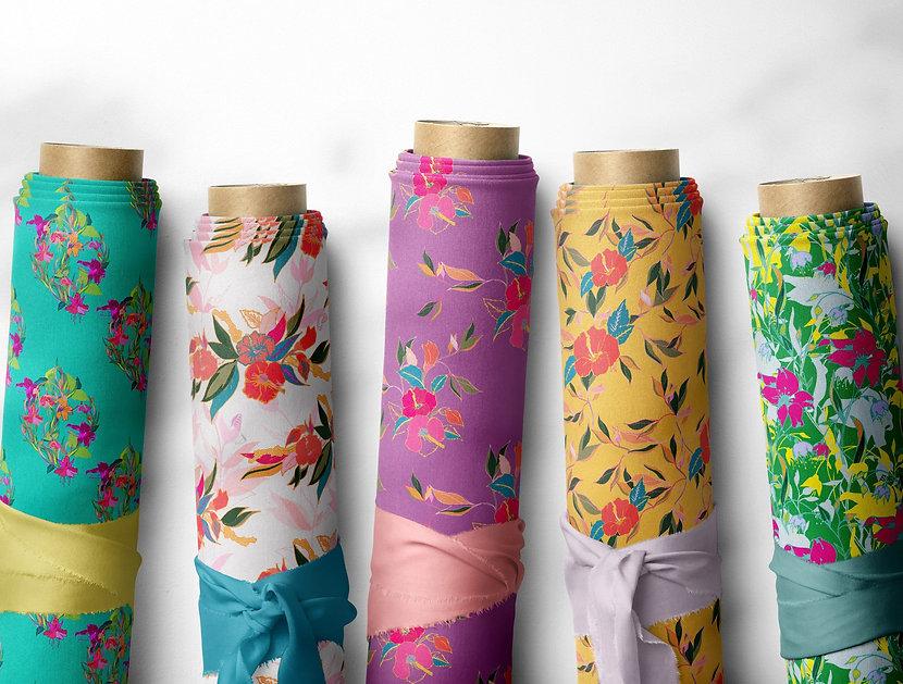 Frantasia Haze Fabrics. Luxury Interior Floral Fabric Collection. Bold, Botanical Fabrics. Bold Patterned Curtain Fabric. Harrogate Interiors. Surface Pattern Designer, Harrogate. Interior Design Harrogate.