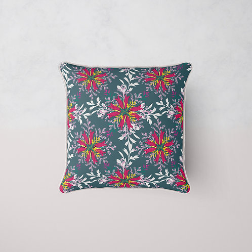 Floral Maze Cushion - Prussian Night