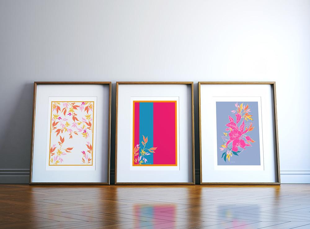 Frantasia Haze Giclee Art Print Collection. Floral Art Prints, Floral Wall Decor. Bold Art Prints.