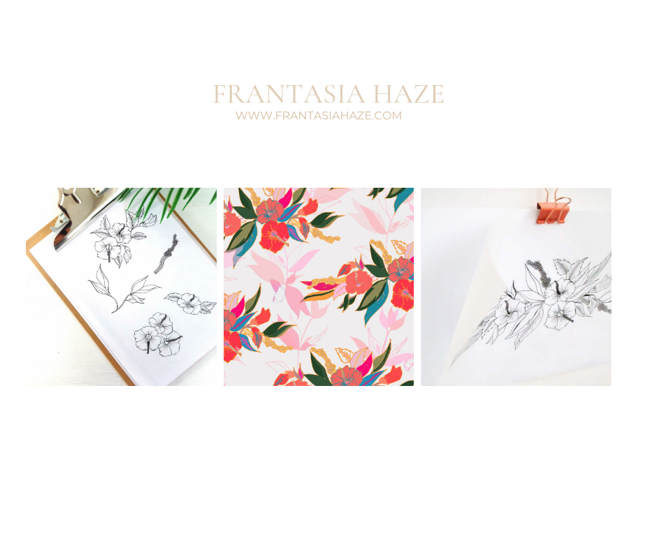 Frantasia Haze Fabric Design Studio. Surface Pattern Design. Floral Patterns. Bold and Floral Luxury Fabric Collection.