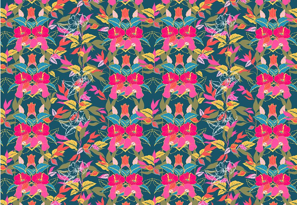 Frantasia Haze Fabric Designs. Surface Pattern Designer Harrogate. Floral Fabric