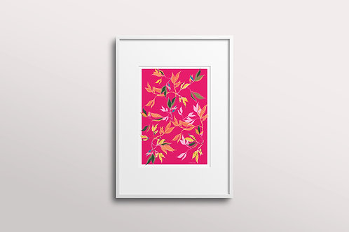 Hibiscus Leaf Giclee Art Print, Pink