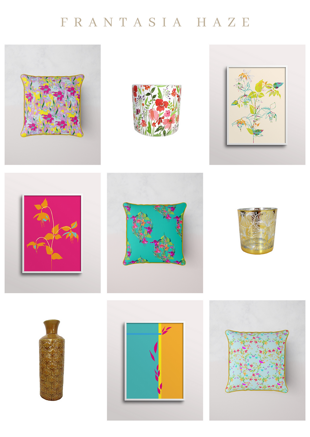 Frantasia Haze Interiors. Homeware. Accessories. Mothers Day Gifts. Floral Cushions. Floral Art. Floral Fabric.