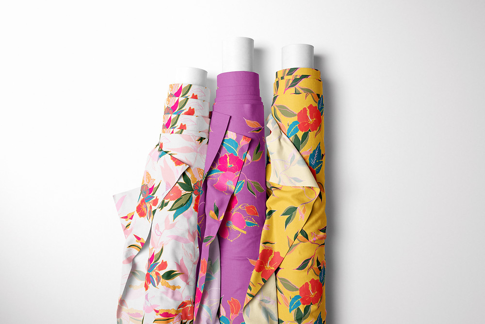 Frantasia Haze Floral Fabric. Interior Fabric. Floral Curtain Fabric.