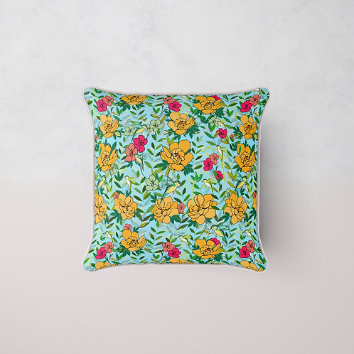 Jungle Afternoon Tea Cushion - Icing Blue
