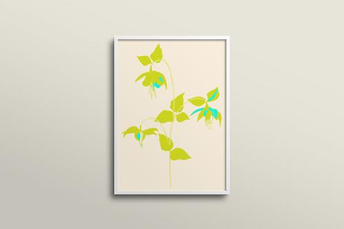 Fuchsia La Vine Bold Art Print in Lemon Mint