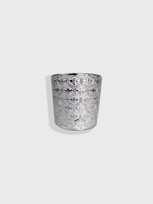 Silver Embossed Honeycomb Bee Planter