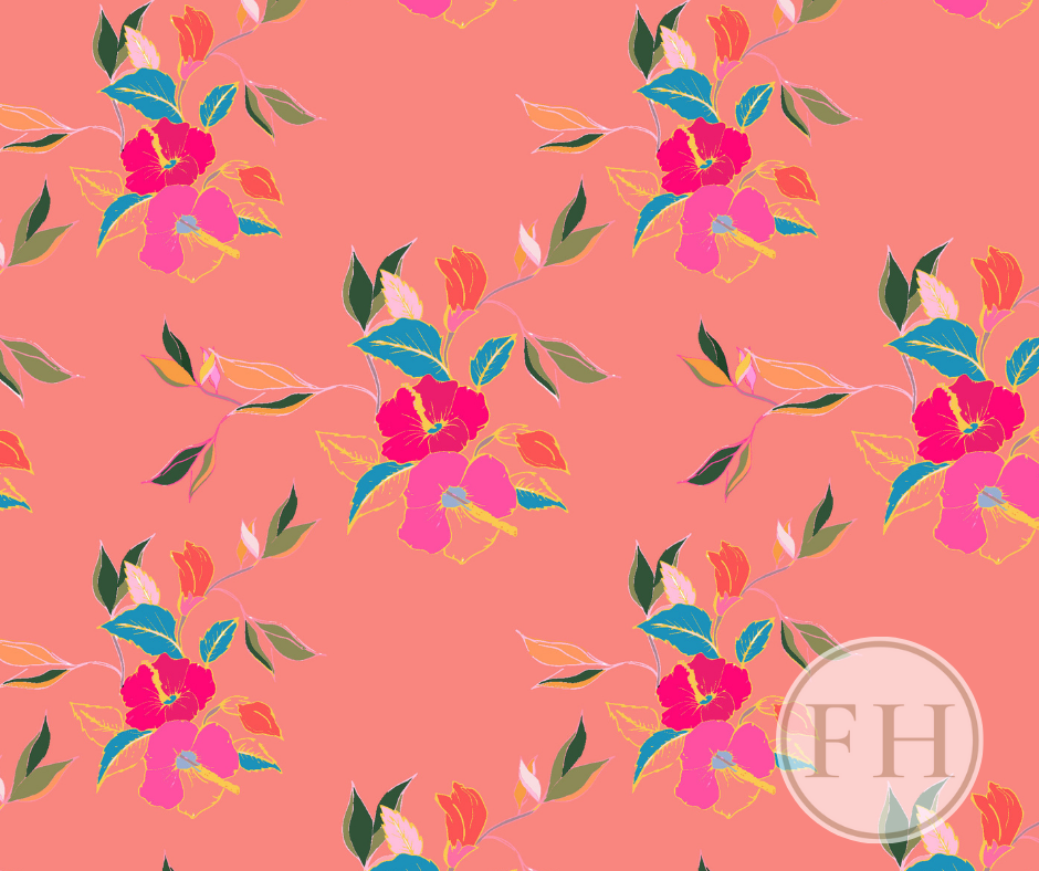 Frantasia Haze Floral Fabrics. Hibiscus in Bloom, Hibiscus Coral. Interior Fabrics. Bold and Bright Curtain Fabric. Patterned Fabric.