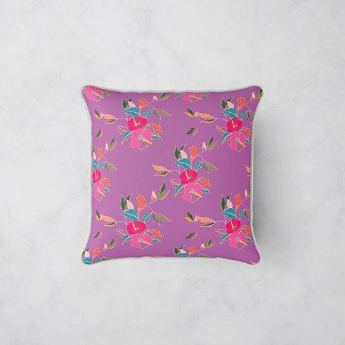 Hibiscus in Bloom Cushion - Hibiscus Berry