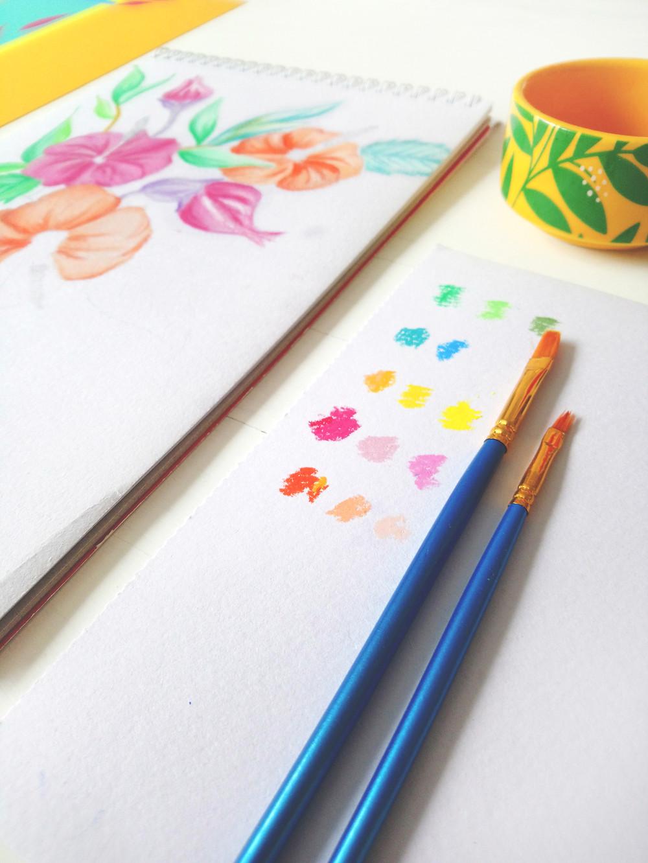 Frantasia Haze Studio Art. Hand drawn art, oil pastels, floral art