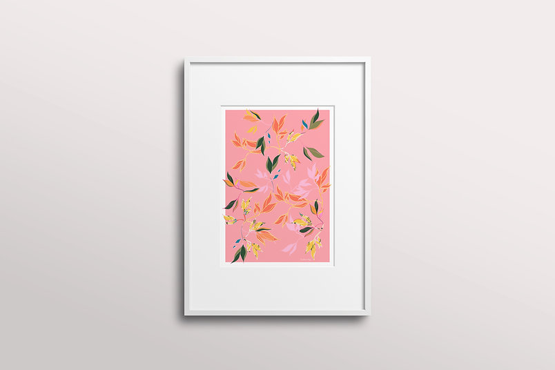 Frantasia Haze Giclee Art Prints. Shop Floral Art Print, Hibiscus Leaf, Peachy. UK Artist, Floral and Botanical Art Prints. Wall Décor for Contemporary Interior Design.