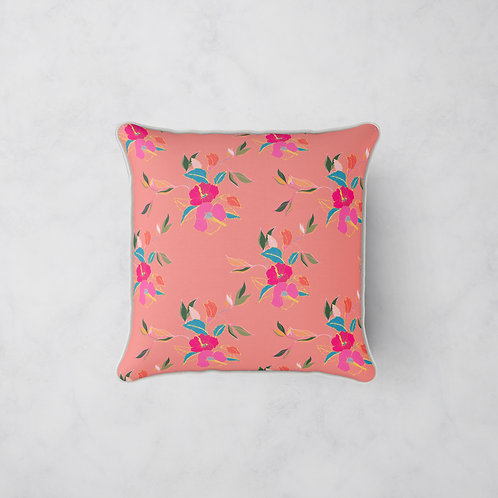 Hibiscus in Bloom Cushion - Coral Rose
