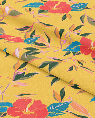 Frantasia Haze Fabrics. Shop Hibiscus Trail in Summer Glow. Printed on Chenille, Cotton Half Panama and Shimmering Velvet. Interior Fabric. Luxury Fabric Design. Bold Floral Fabric. Harrogate Interiors.