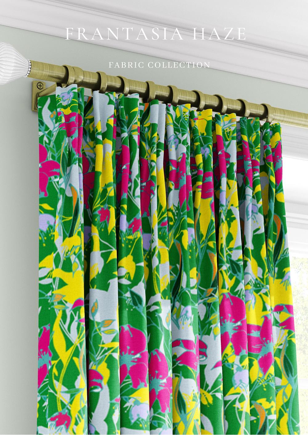 Frantasia Haze Fabric Collection. Curtain Fabric. Floral Fabric. Interior Fabric. Bold Curtain Fabric.