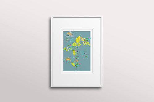 Fuchsia La Vine Giclee Art Print, Fuchsia Silk