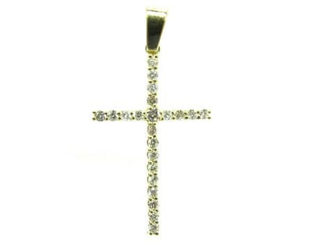 Round Cut Diamond Cross Crucifix