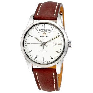 Breitling Transocean Automatic Mercury Silver Dial 18K Rose Gold