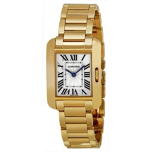 Cartier Tank Anglaise Silver Dial 18kt Yellow Gold Ladies