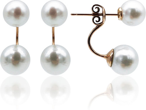 14K White Double Akoya Pearl