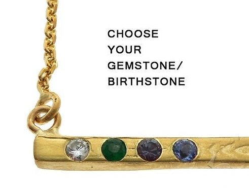 Bezel Diamond Birthstone Gemstone Bar