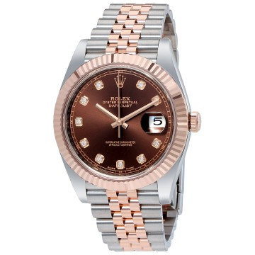 Rolex Datejust 41 Chocolate Diamond Dial Steel and 18K Everose Gold Jubilee
