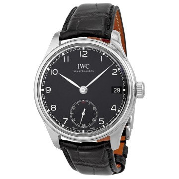 IWC Portuguese Hand Wound Eight Days Black Leather