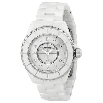 CHANEL J12 Mother of Pearl Diamond Dial White Ceramic Unisex