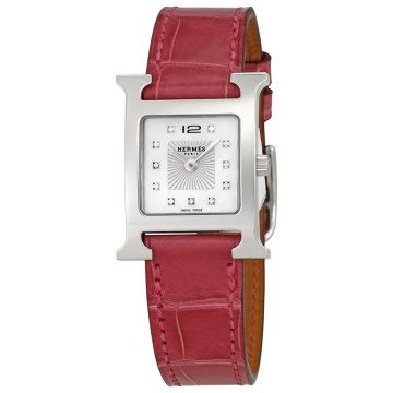 Hermes H Hour Mother Of Pearl Diamond Dial Ladies