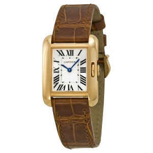 Cartier Tank Anglaise Silver Dial 18k Rose Gold Brown Leather Small Ladies