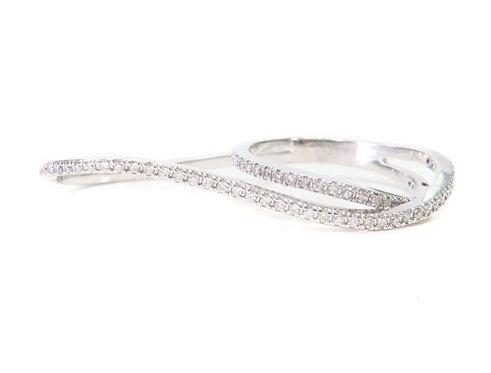 Two Finger Prong Diamond Ring