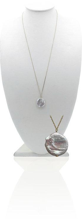 14K White Coin Pearl
